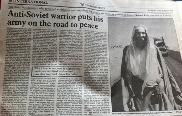 """A glowing 1993 article on Osama bin Laden. Perhaps unknown to him, the corporate media was running articles like """"The Red Menace is Gone. Here's Islam"""" (NYT, 1996) and """"The Roots of Muslim Rage"""" (The Atlantic, 1999)."""